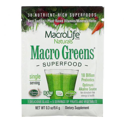 Macrolife Naturals, Macro Greens, Superfood, 9.4 g