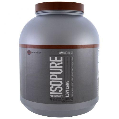 Nature's Best, IsoPure, IsoPure, белковый порошок с низким содержанием углеводов, голландский шоколад, 4,5 фунта (2,04 кг)