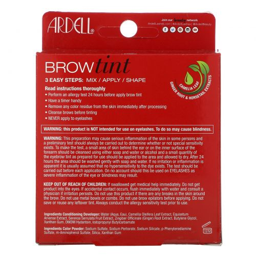 Ardell, Brow Tint, Light Brown, 5 Piece Set