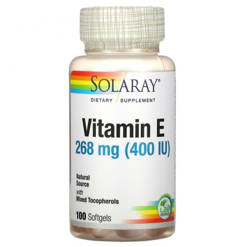 Solaray, Vitamin E , 400 IU, 100 Softgels