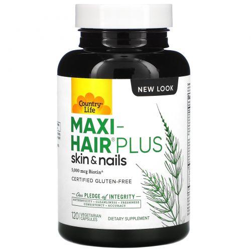 Country Life, Maxi Hair Plus, 5,000 мкг, 120 растительных капсул