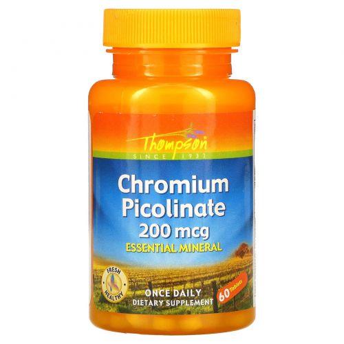 Thompson, Пиколинат хрома, 200 мкг, 60 таблеток