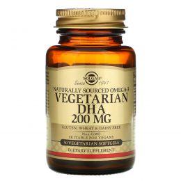 Solgar, Натуральная вегетарианская омега-3 ДГК, 200 мг, 50 мягких капсул на растительной основе