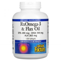 Natural Factors, RxOmega-3 и льняное масло, 120 Softgels