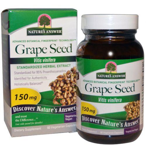 Nature's Answer, Виноградные косточки, стандартизированный травяной экстракт, 150 мг, 60 растительных капсул