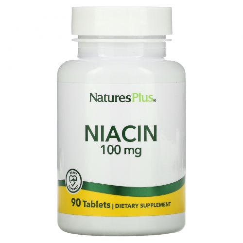 Nature's Plus, Ниацин, 100 мг, 90 таблеток