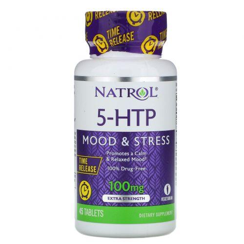 Natrol, 5-HTP TR, Time Release, 100 мг, 45 таблеток