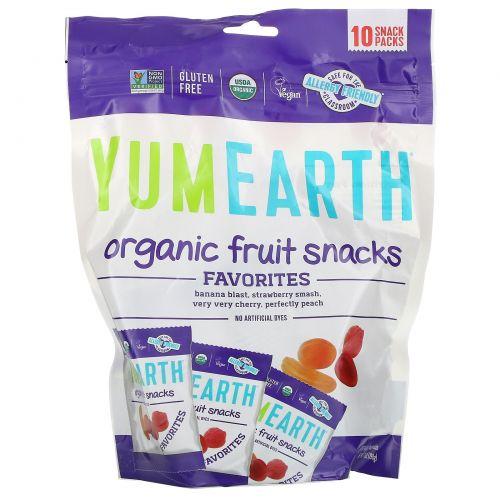 YumEarth, Фруктовая закуска, бананы, вишня, персик и клубника, 10 упаковок по 6.2 унции (176 г)