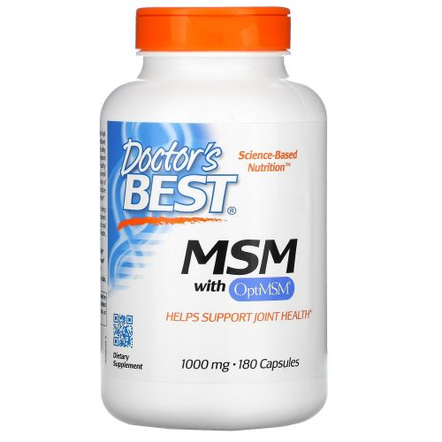 Doctor's Best, Best MSM with OptiMSM, 1,000 mg, 180 Capsules