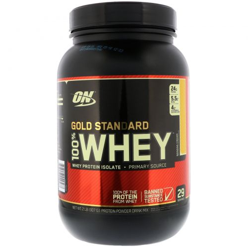 Optimum Nutrition, Gold Standard, 100% сыворотка, банановые сливки, 2 фунта (907 г)