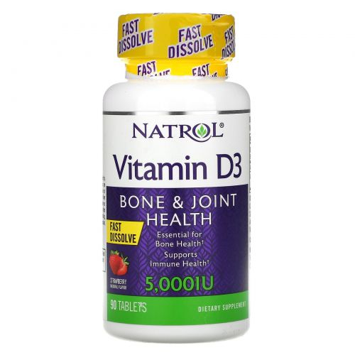 Natrol, Витамин D3, быстрого растворения, с ароматом клубники натурального происхождения, 5000 МЕ, 90 таблеток