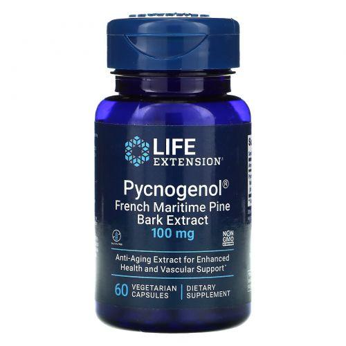 Life Extension, Пикногенол, экстракт коры французской морской сосны, 100 мг, 60 капсул