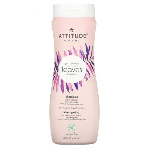 ATTITUDE, Super Leaves Science, натуральный шампунь, эффективное увлажнение, киноа и жожоба, 16 унций (473 мл)