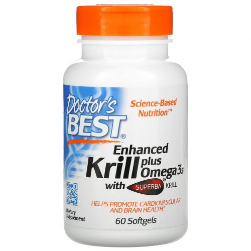 Doctor's Best, Enhanced Krill Plus Omega3s with Superba Krill, 60 Softgels