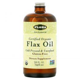 Flora, Сертифицированное натуральное льняное масло, 32 жидких унций (946 мл)