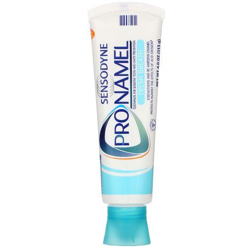 Sensodyne, ProNamel, зубная паста, «Свежее дыхание», волна свежести, 113г