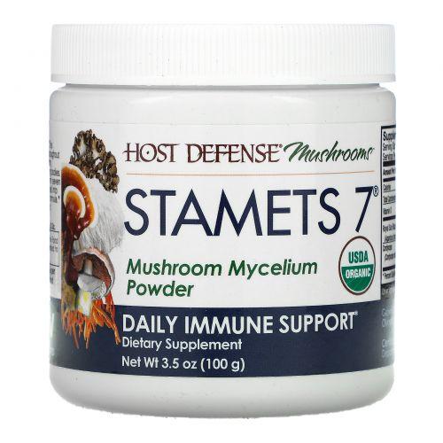 Fungi Perfecti, Stamets 7, мицелий грибов в порошке, добавка для ежедневного укрепления иммунитета, 100г