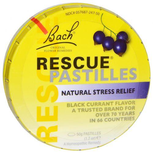Bach, Оригинальные цветочные препараты, пастилки Rescue, натуральное средство от стресса, 1,7 унций (50 г), вкус черной смородины
