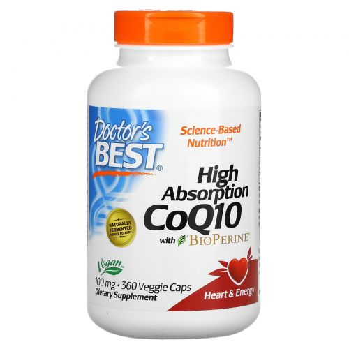 Doctor's Best, Hi Absorption CoQ10, 100mg, 360 Vegie Caps