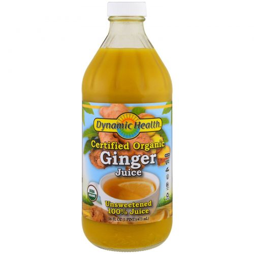 Dynamic Health  Laboratories, Certified Organic Ginger, 100% Juice, Unsweetened, 16 fl oz (473 ml)