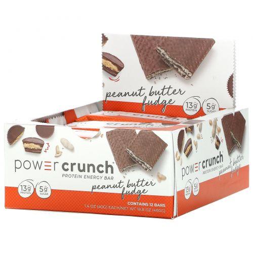 BNRG, Power Crunch, протеиновый энергетический батончик со вкусом арахисового масла и ирисок, 12 шт. по 40 г