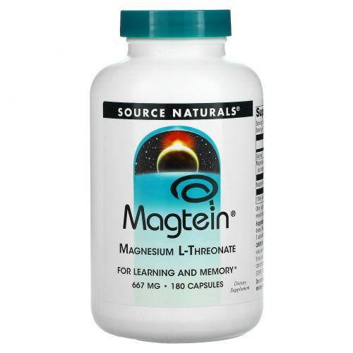 Source Naturals, Magtein, магний L-треонат, 667 мг, 180 капсул