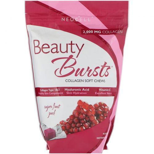 Neocell, Beauty Burst, Collagen Type 1 & 3, Super Fruit Punch, 2,000 mg, 90 Soft Chews
