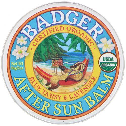 Badger Company, Органика, Бальзам после загара с пижмой и лавандой, 2 унции (56 г)