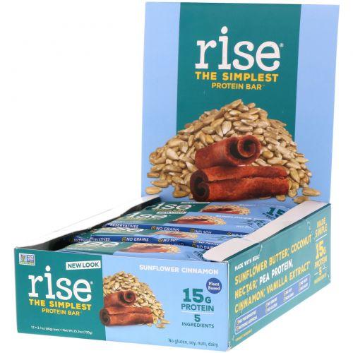 Rise Bar, Протеин + Батончик с семенами подсолнечника и корицей, 12 шт по 60 г
