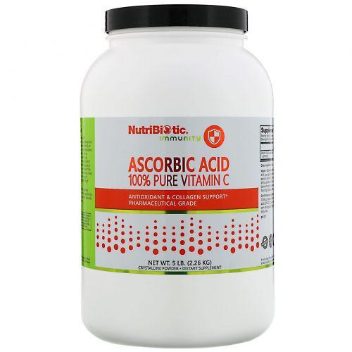 NutriBiotic, Аскорбиновая кислота, 100% чистый витамин С, кристаллический порошок, 5 фунтов (2,26 кг)