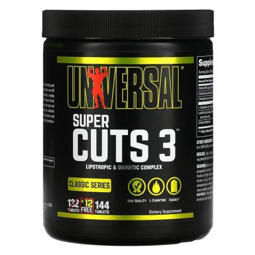 Universal Nutrition, Classic Series, Super Cuts 3, Lipotropic & Diuretic Complex, 144 Tablets
