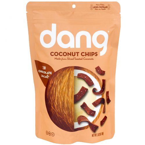 Dang Foods LLC, Поджаренные кокосовые чипсы, сладкие и соленые, соленое какао, 2,82 унции (80 г)