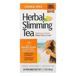 21st Century, Травяной чай для похудения, апельсин и пряности, без кофеина, 24 чайных пакетиков, 1,6 унции (45 г)