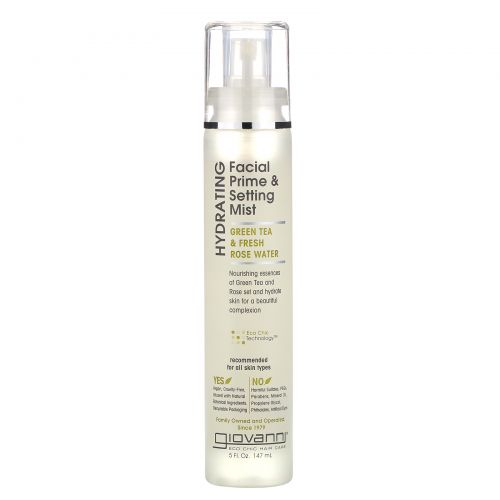 Giovanni, Hydrating Facial Prime & Setting Mist, Green Tea & Fresh Rose Water, 5 fl oz (147 ml)