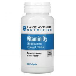 Lake Avenue Nutrition, Витамин D3, 1000МЕ, 360 мягких желатиновых капсул
