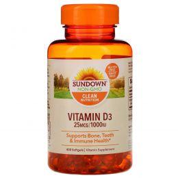 Sundown Naturals, Высокоэффективный витамин D3, 1000 МЕ, 400 гелевых капсул