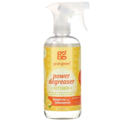 GrabGreen, Обезжиривающее чистящее средство, мандарин и лемонграсс. без отдушек, 16 унций (473 мл)