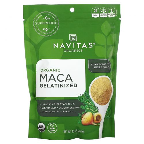 Navitas Organics, Organic, порошок маки, желатинизированный, 16 унций (454 г)