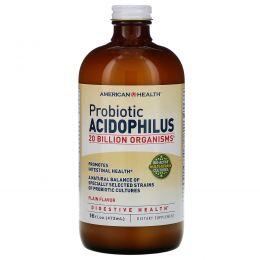 American Health, Пробиотик Ацидофилус, Обычный Вкус 16 жидких унции (472 мл)