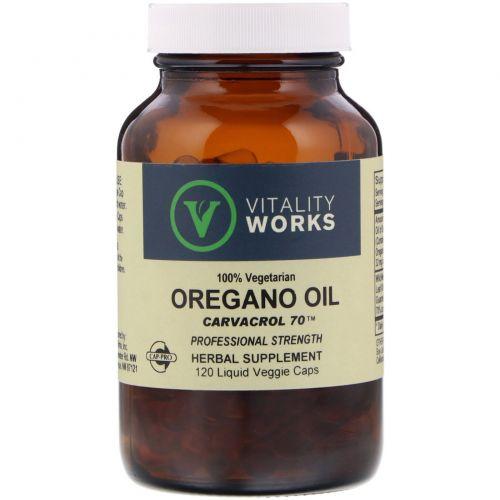 Vitality Works, Масло орегано, Карвакрол 70, 120 капсул