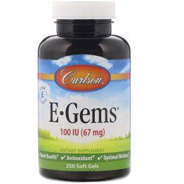 Carlson Labs, E·Gems, натуральный витамин Е, 100 МЕ, 250 капсул