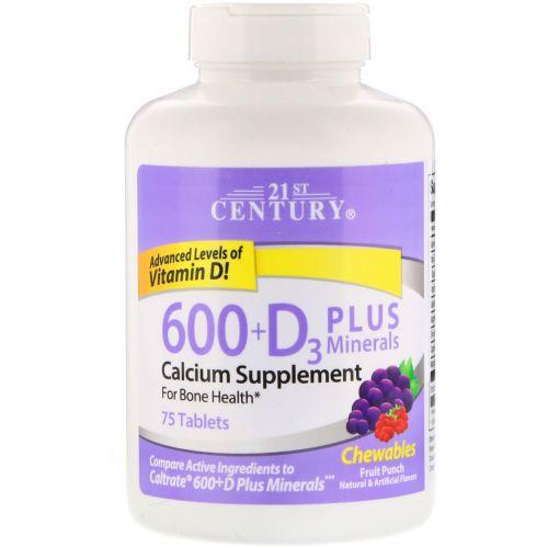 21st Century, 600 + D3 плюс минералы жевательные таблетки, фруктовый пунш, 75 таблеток