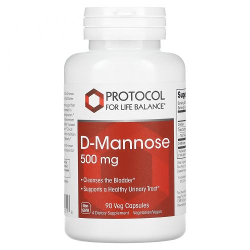 Protocol for Life Balance, D-Mannose, 500 mg , 90 Veg Capsules