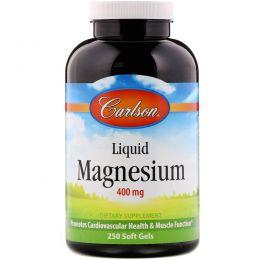 Carlson Labs, Жидкий магний, 400 мг, 250 гелевых капсул