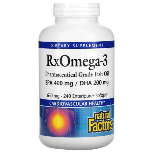 Natural Factors, Rx Omega-3 , 630 mg, 240 Enteripure Softgels