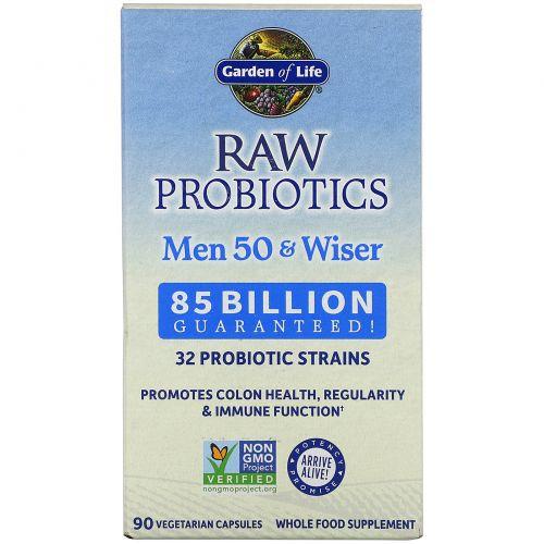 Garden of Life, Сырые пробиотики, для мужчин старше 50, 90 капсул на растительной основе (Ice)
