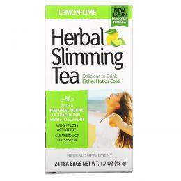 21st Century, Травяной чай для похудения со вкусом лимона и лайма, 24чайных пакетика, 1,6унции (45г)