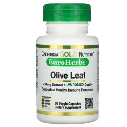 California Gold Nutrition, Оливковые листья XT EuroHerbs 500 mg, VC EM, 60 карат