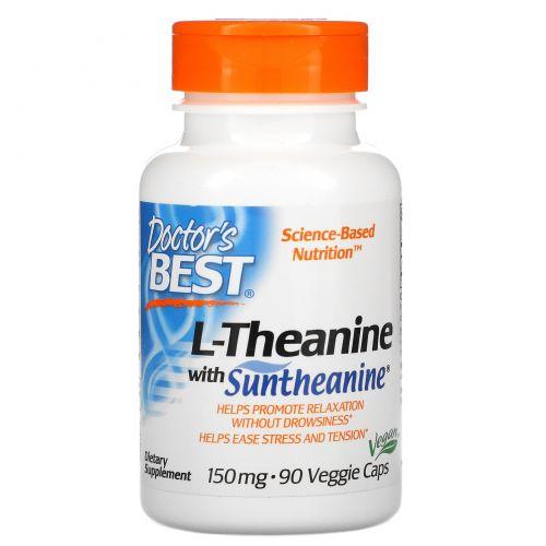 Doctor's Best, Сантианин L-тианин, 150 мг, 90 капсул на растительной основе