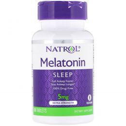 Natrol, Мелатонин, Экстра сила, 5 мг, 60 таблеток